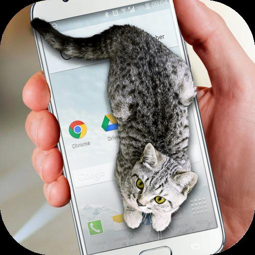 Cat Walks in Phone Cute Joke Icon