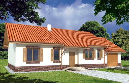 projekt Nina II Plus wersja D poj.garaż i kotł. z podwyższonym dachem, strop Teriva