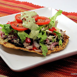 Quinoa Tostadas with Avocado Cream Sauce