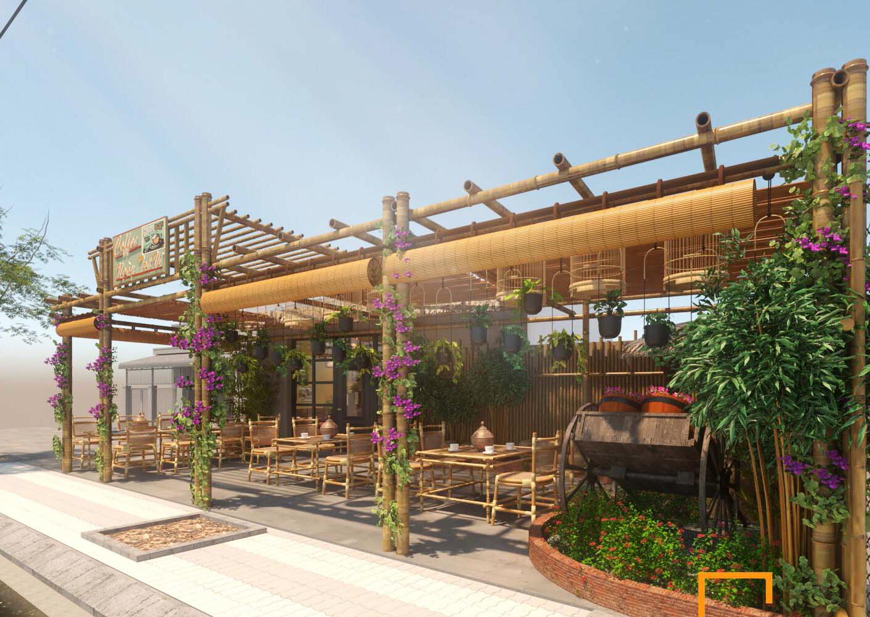 Thiết kế quán cafe sân vườn 80m2 phong cách làng quê