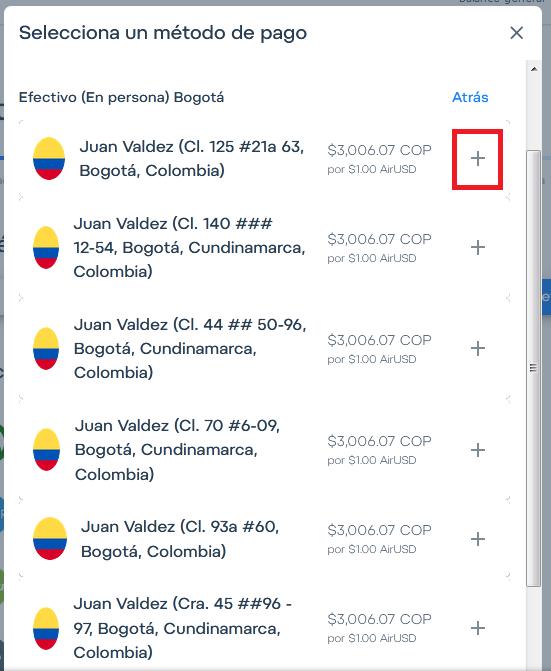 Retira dinero en efectivo personalmente en Colombia en Juan Valdez.