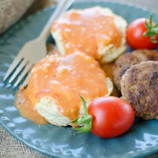 Tomato Gravy over Buttermilk Biscuits with Homemade Sausage Patties