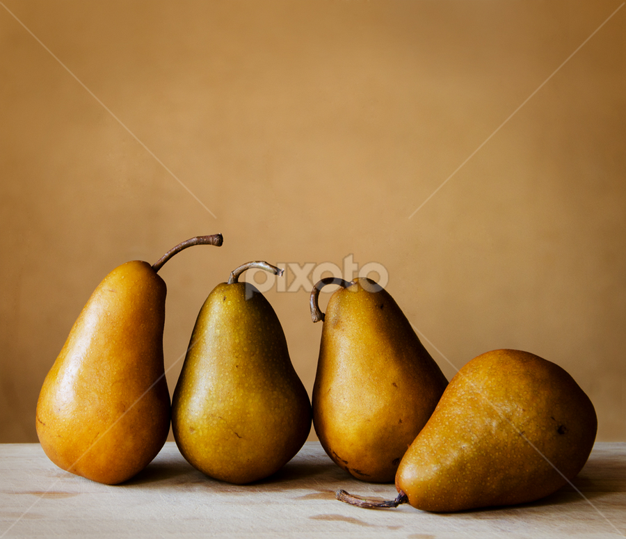 Four Pears by Kim McAvoy - Artistic Objects Still Life ( fruit, sidelighting, warm tones, pears, brown, four )