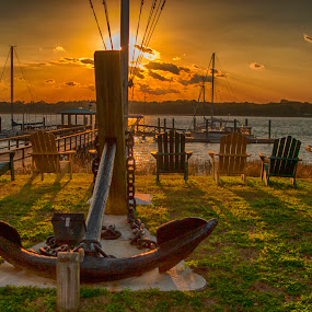 Sunset on Anchor by Keith Wood - Buildings & Architecture Statues & Monuments ( beaufort, kewphoto, sunset, anchor, keith wood,  )