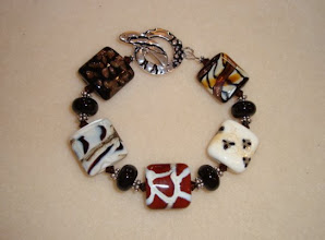 Photo: animal print lampwork glass bracelet