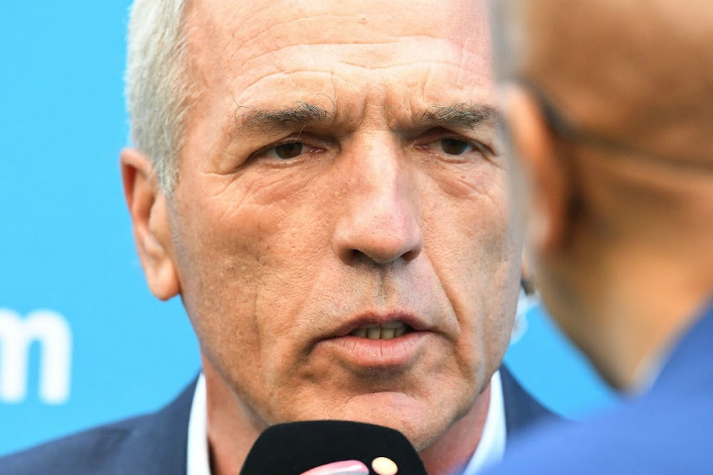 Ernst Middendorp resists the temptation to celebrate after Pirates win