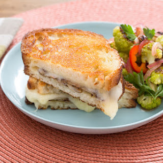 Mushroom & Fontina Grilled Cheese Sandwiches with Sweet Pepper & Roasted Cauliflower Salad.