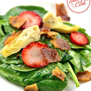 Low Carb Spinach, Strawberry, Bacon and Artichoke Heart Salad