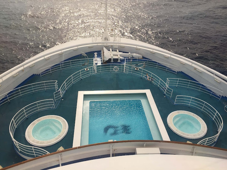 The bow of Ruby Princess as seen from the bridge.