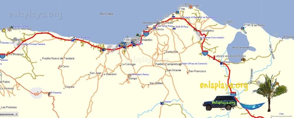 Mapa de PLayas Del Sector Puerto Cumarebo