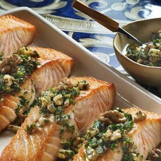 Walnut Salsa Verde Over Crispy Salmon