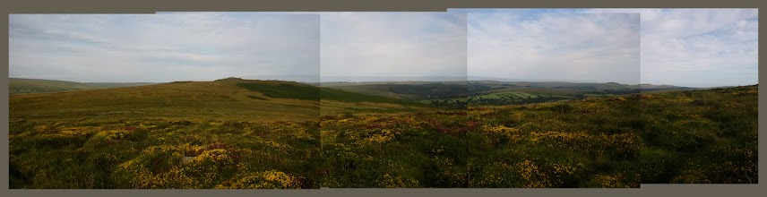 Photo: Panoramic, composite photo looking north from Corndon Tor