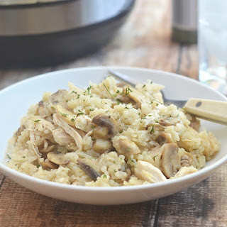 Pressure Cooker Chicken and Rice with Mushrooms.