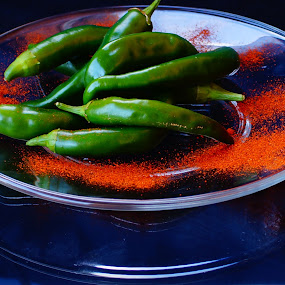 Green Pepper by Angelika Sauer - Food & Drink Ingredients ( decoration, green, kitchen supplies, vegetables, jalapenos, spices, garden produces, ingredients, red, paprika, blue, food, cooking )