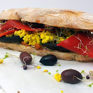 Portobello Mushrooms & Tofu Scramble Ciabatta Sandwich [vegan]
