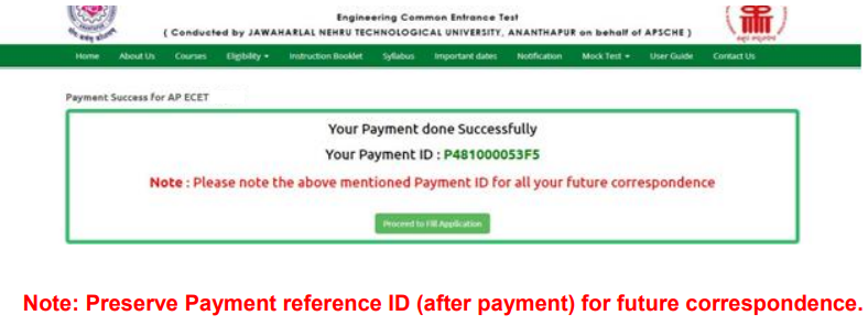 AP ECET 2021 Application Fee Payment ID