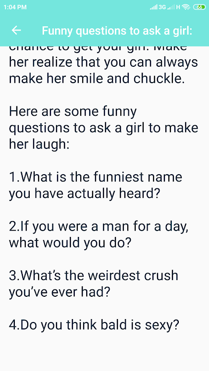 What Questions To Ask A Girl Android Applications Appagg