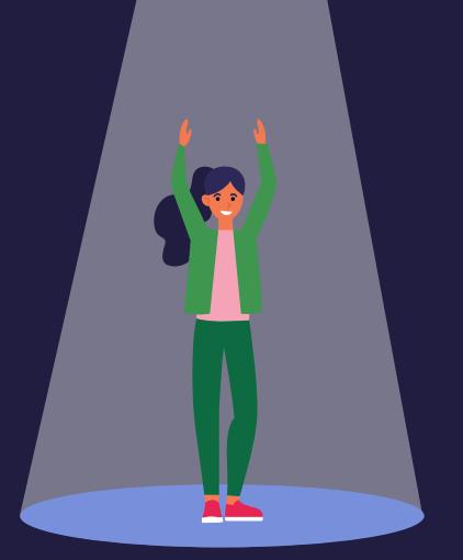 Illustration einer jungen Frau in im Scheinwerferlicht steht