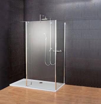 Paroi de douche fixe à l'italienne Walk In, avec paroi latérale et retour, Square III