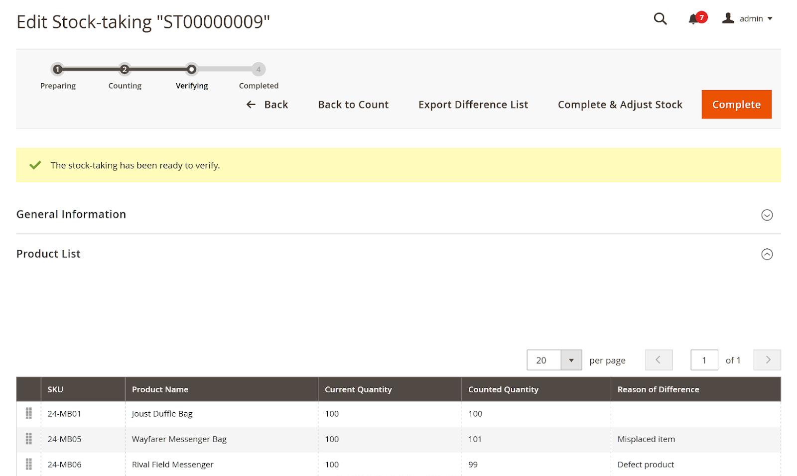Verify stocktake data