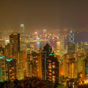 Hong Kong Skyline by Ram Suson - City,  Street & Park  Skylines ( hong kong, hong kong skyline, skyline, cityscape, city skyline )