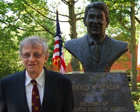 Photo: Dr. Richard Sanders, Professor Emeritus, was chosen to lay the wreath at the bust of Ronald Reagan in the Peace Garden memorial Ceremony, June 5, 2012.