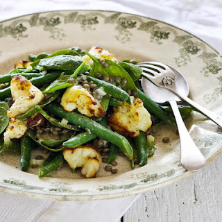 Haloumi, Green Bean, Lentil and Baby Spinach Salad