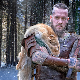 Viking WRRIOR by Lee Sutton - People Portraits of Men ( #viking #warrior #forest #snow #axe )