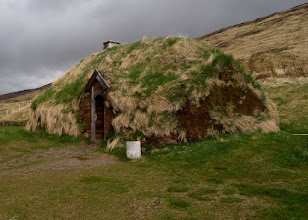 Photo: Eiriksstaoir was our first stop this morning where we saw this replica of Eric the Red's (Leif Erikson's father) long house from the 10th century.
