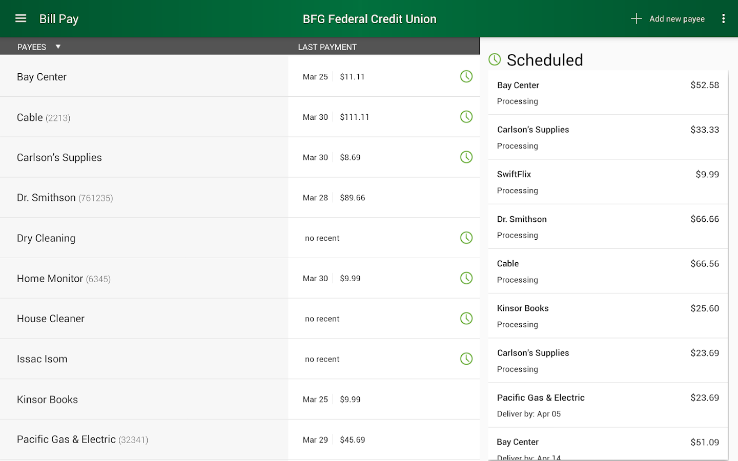 BFG Federal Credit Union- screenshot