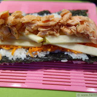 Maple Teriyaki Salmon Sushi w/ Apple and Carrot (Quick Take).
