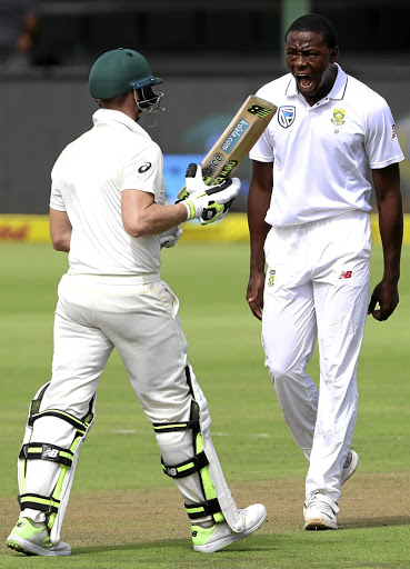 Baiting: Kagiso Rabada gives Steve Smith a mouthful moments before the shoulder clash in Port Elizabeth. Picture: REUTERS