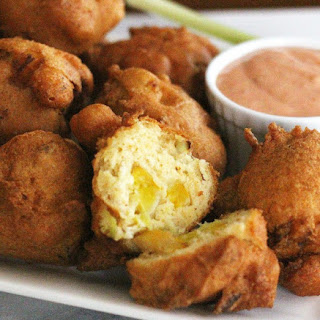 Squash Fritters With Sriracha Dipping Sauce.