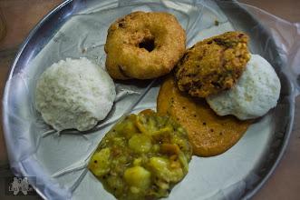 Photo: Breakfast in Pondicherry India  Idly, Medu Vada, Wadi, Sambar and Potato Curry
