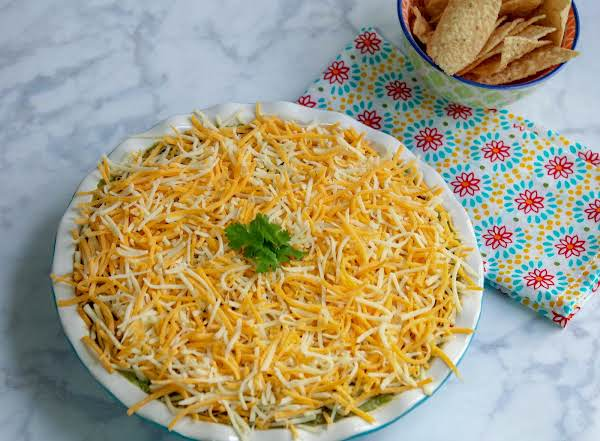 Fajita Dip With Tortilla Chips On The Side.
