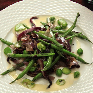 Warm Spring Vegetable Salad with Favas, Green Beans, and Radicchio.