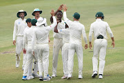 Kagiso Rabada of the Proteas celebrates the wicket of Lahiru Thirimanne of Sri Lanka during day 3 of the 1st Test match between South Africa and Sri Lanka at Kingsmead Stadium on February 15, 2019 in Durban, South Africa.
