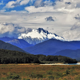 by Phil Bear - Landscapes Mountains & Hills ( field, mountains, meadow, valley, new zealand, river )