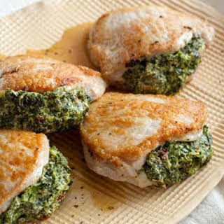 Spinach-Stuffed Pork Chops.