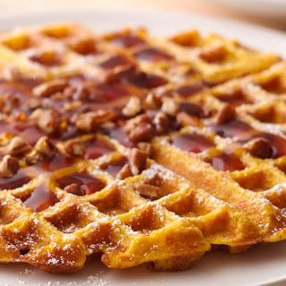 Pumpkin Waffles with Maple-Apple Syrup
