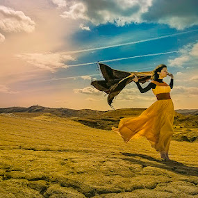 Girl in the  wind by Tomita Savastre - People Fine Art ( clouds, wind, hill, girl, sky )