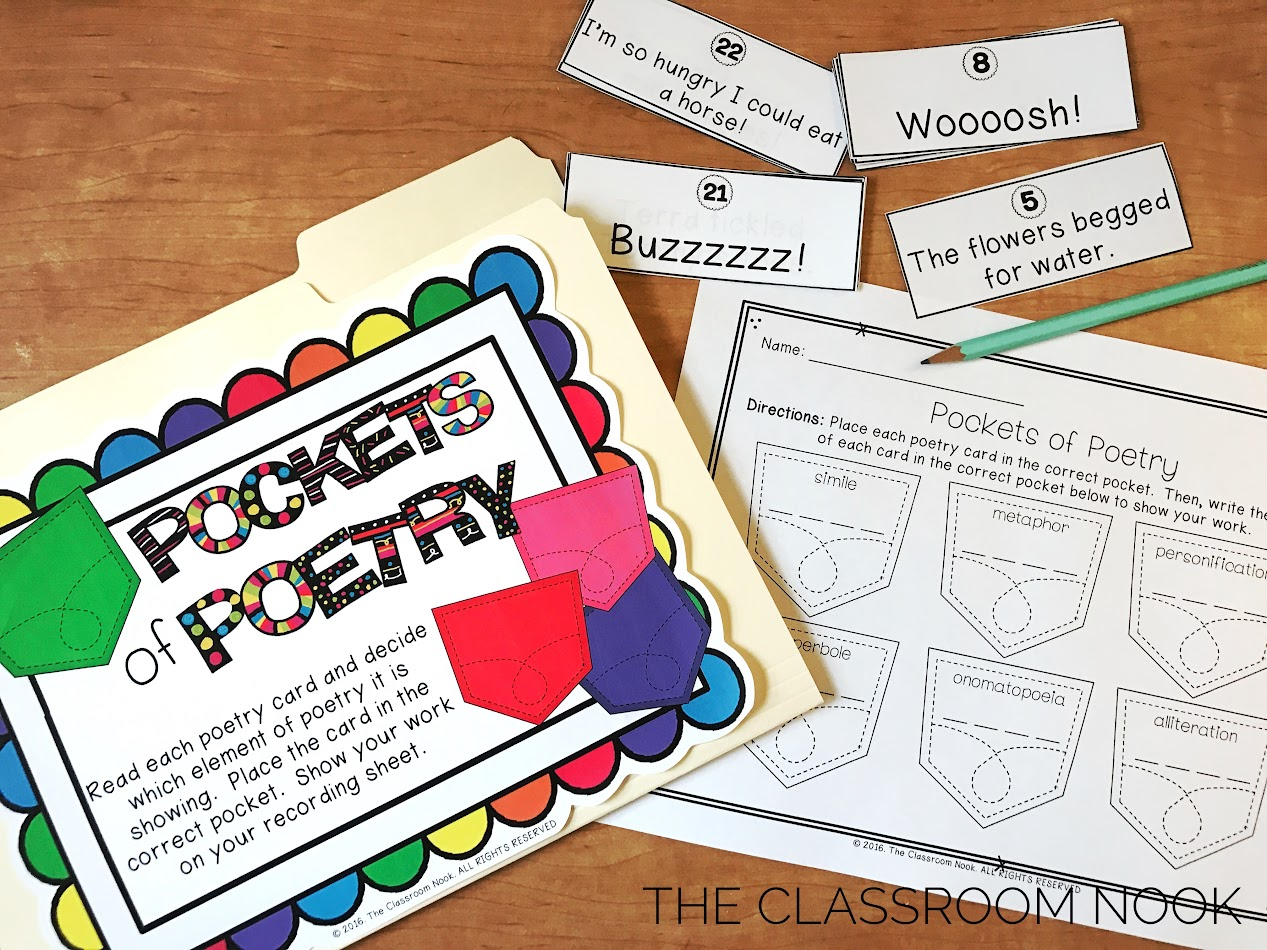 Free poetry game for teaching elements of poetry