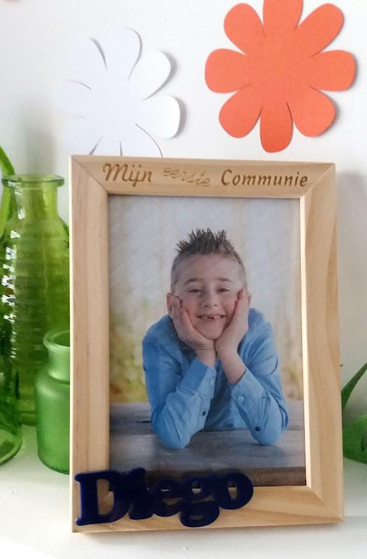Gepersonaliseerde fotokader als communie aandenken