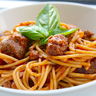 Spaghetti with Sausage and Basil