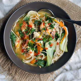 Weeknight Noodle, Vegetable and Shrimp Soup.