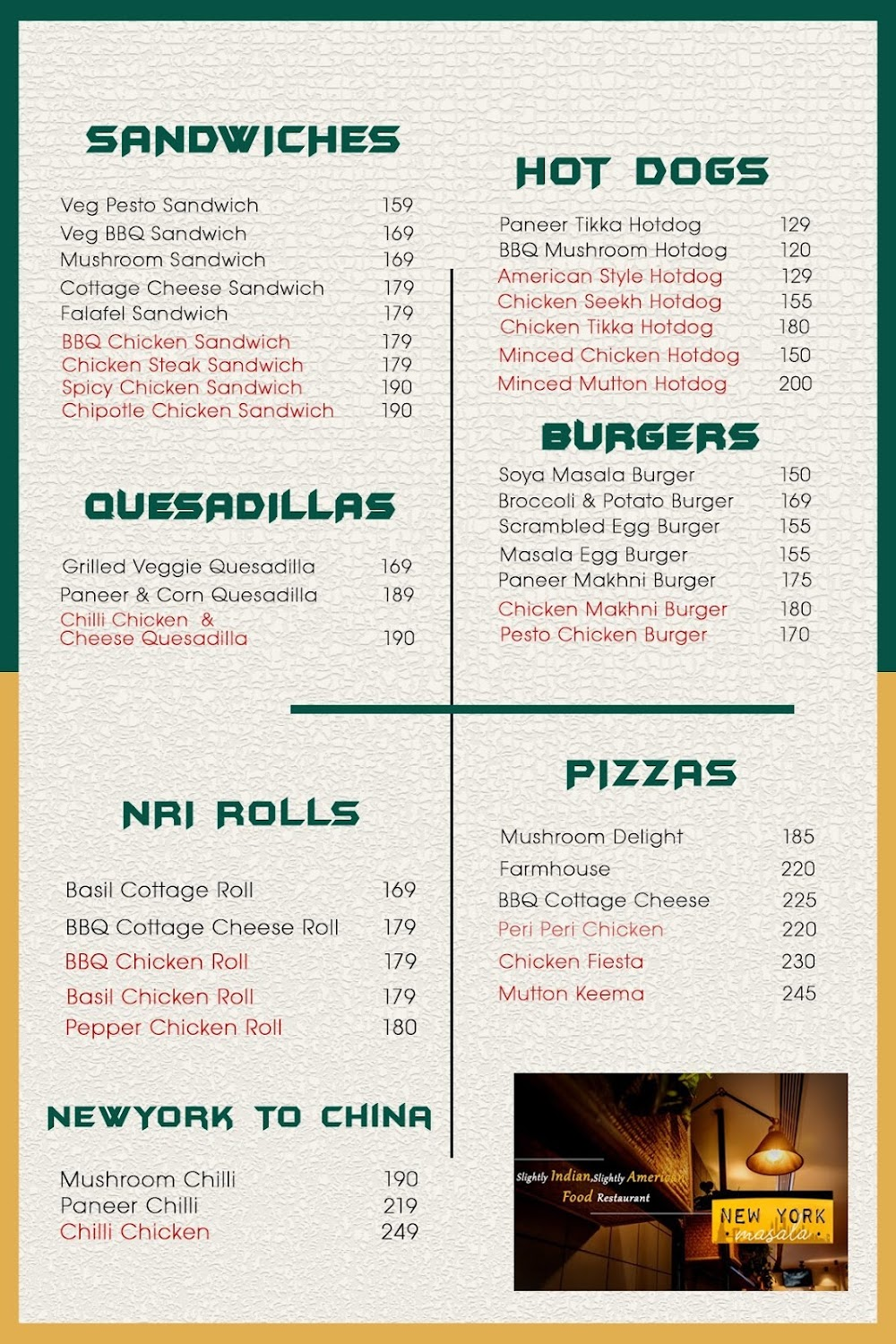 New York Masala menu 2