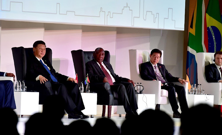 Leaders of the Brics (Brazil, Russia, India, China and South Africa) nations attend a business forum at the Sandton Convention Centre in Johannesburg on Wednesday, July 25 2018. Picture: GCIS