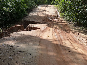 Photo: Ko Phangan motobiking around - sandy/muddy road to Sadet waterfall/beach with many potholes, it's much worse than it looks at photo, I tryed to capture it, but it's difficult, at some places was half of the road washed away with holes deep 1-2m