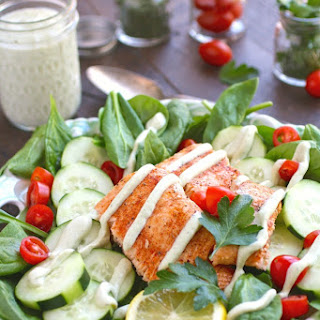 Spinach & Salmon Salad with Creamy Dairy-Free Herbed Dressing.