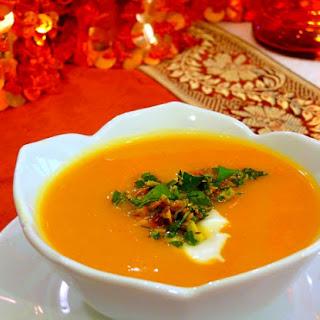 Butternut Squash-Tangerine Soup with pistachio gremolata